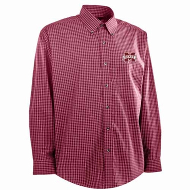 Mississippi State Mens Esteem Check Pattern Button Down Dress Shirt (Team Color: Maroon)