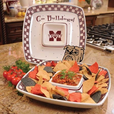 Mississippi State Gameday Ceramic Chip and Dip Platter