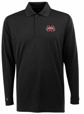 Mississippi State Mens Long Sleeve Polo Shirt (Team Color: Black)