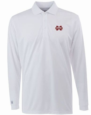 Mississippi State Mens Long Sleeve Polo Shirt (Color: White)