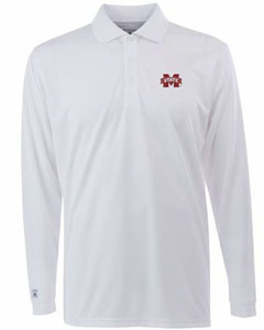 Mississippi State Mens Long Sleeve Polo Shirt (Color: White) - Small