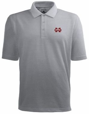 Mississippi State Mens Pique Xtra Lite Polo Shirt (Color: Gray)