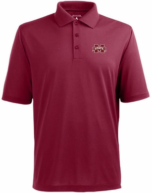 Mississippi State Mens Pique Xtra Lite Polo Shirt (Color: Maroon)