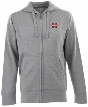 Mississippi State Mens Signature Full Zip Hooded Sweatshirt (Color: Gray)