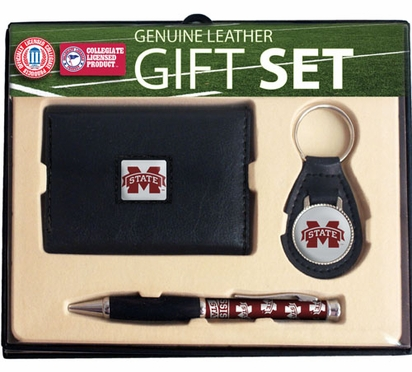 Mississippi State Trifold Wallet Key Fob and Pen Gift Set