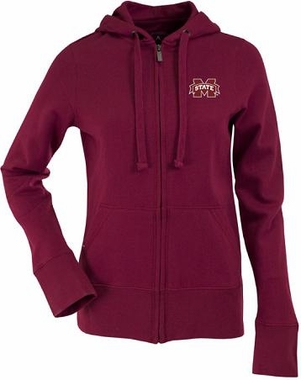Mississippi State Womens Zip Front Hoody Sweatshirt (Team Color: Maroon)