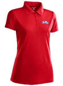 Mississippi Womens Pique Xtra Lite Polo Shirt (Color: Red) - Large