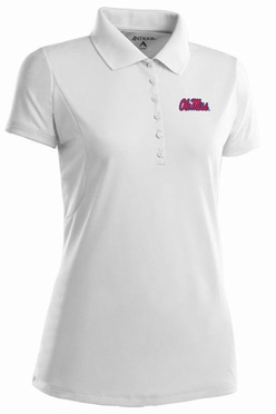 Mississippi Womens Pique Xtra Lite Polo Shirt (Color: White)