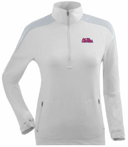 Mississippi Womens Succeed 1/4 Zip Performance Pullover (Color: White) - Medium