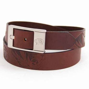 Missouri Brown Leather Brandished Belt