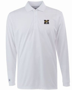 Missouri Mens Long Sleeve Polo Shirt (Color: White)