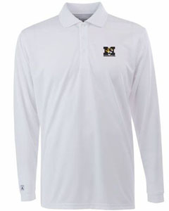 Missouri Mens Long Sleeve Polo Shirt (Color: White) - Medium