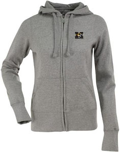 Missouri Womens Zip Front Hoody Sweatshirt (Color: Gray) - X-Large