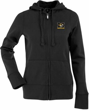 Missouri Womens Zip Front Hoody Sweatshirt (Color: Black)