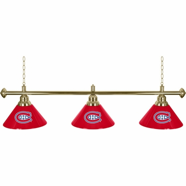 Montreal Canadiens 60 Inch 3 Shade Billiard Lamp