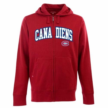 Montreal Canadiens Mens Applique Full Zip Hooded Sweatshirt (Team Color: Red)