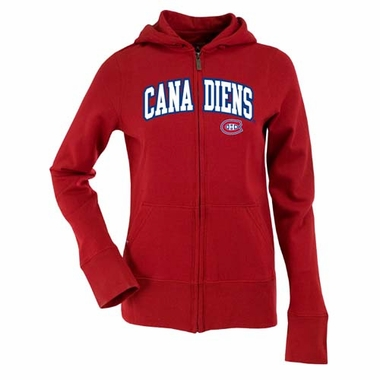 Montreal Canadiens Applique Womens Zip Front Hoody Sweatshirt (Color: Red)