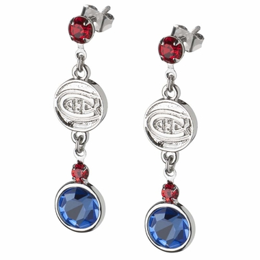 Montreal Canadiens Crystal Logo Dangle Earrings