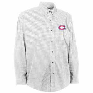 Montreal Canadiens Mens Esteem Check Pattern Button Down Dress Shirt (Color: White) - X-Large