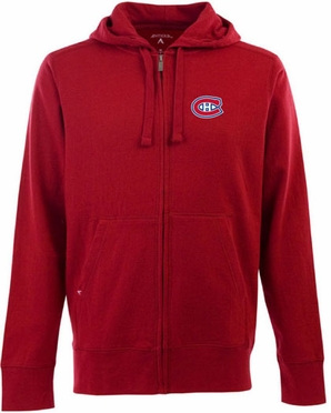 Montreal Canadiens Mens Signature Full Zip Hooded Sweatshirt (Team Color: Red)