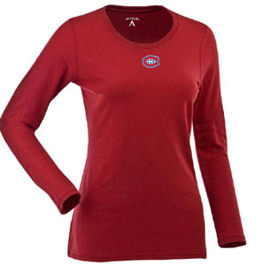 Montreal Canadiens Womens Relax Long Sleeve Tee (Team Color: Red) - Large