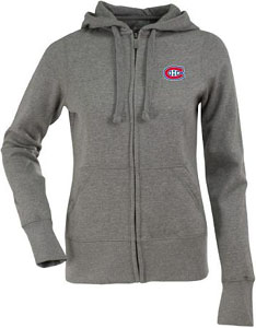 Montreal Canadiens Womens Zip Front Hoody Sweatshirt (Color: Gray) - Small