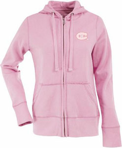 Montreal Canadiens Womens Zip Front Hoody Sweatshirt (Color: Pink) - Large