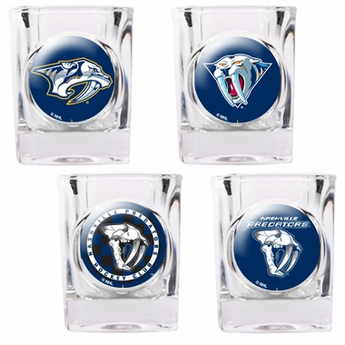 Nashville Predators 4 Piece Assorted Shot Glass Set