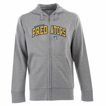Nashville Predators Mens Applique Full Zip Hooded Sweatshirt (Color: Gray)