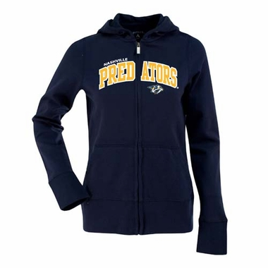 Nashville Predators Applique Womens Zip Front Hoody Sweatshirt (Team Color: Navy)