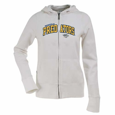 Nashville Predators Applique Womens Zip Front Hoody Sweatshirt (Color: White)
