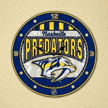 Nashville Predators Art Glass Clock