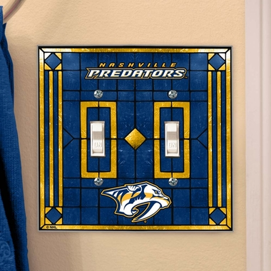 Nashville Predators Art Glass Lightswitch Cover (Double)