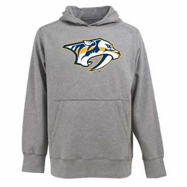 Nashville Predators Big Logo Mens Signature Hooded Sweatshirt (Color: Gray)