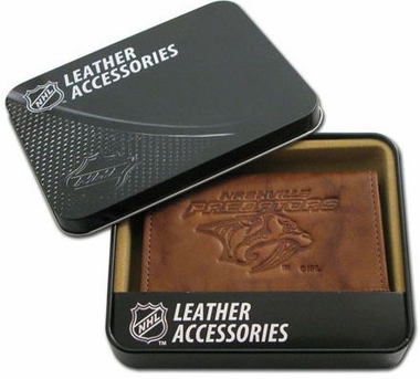 Nashville Predators Embossed Leather Trifold Wallet