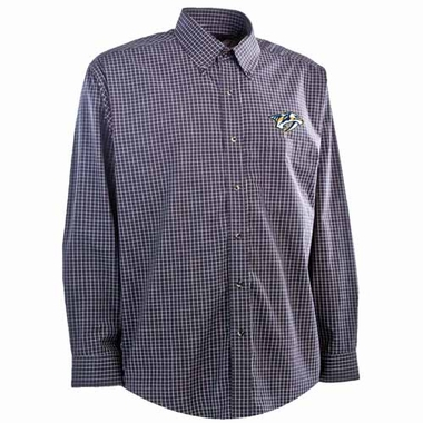 Nashville Predators Mens Esteem Check Pattern Button Down Dress Shirt (Team Color: Navy)