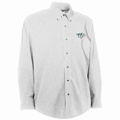 Nashville Predators Mens Esteem Check Pattern Button Down Dress Shirt (Color: White)
