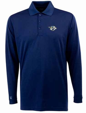 Nashville Predators Mens Long Sleeve Polo Shirt (Team Color: Navy)