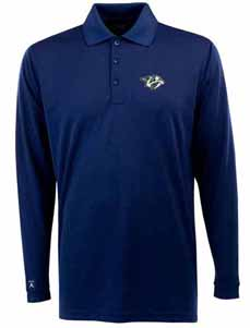 Nashville Predators Mens Long Sleeve Polo Shirt (Color: Navy) - Large