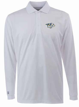 Nashville Predators Mens Long Sleeve Polo Shirt (Color: White)