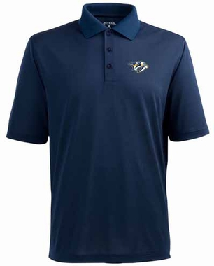 Nashville Predators Mens Pique Xtra Lite Polo Shirt (Color: Navy)
