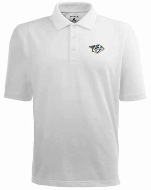 Nashville Predators Mens Pique Xtra Lite Polo Shirt (Color: White)