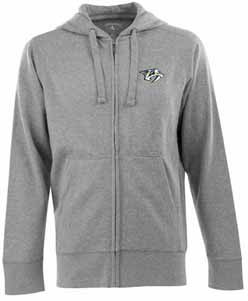Nashville Predators Mens Signature Full Zip Hooded Sweatshirt (Color: Gray) - Large