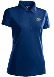 Nashville Predators Womens Pique Xtra Lite Polo Shirt (Team Color: Navy) - Medium