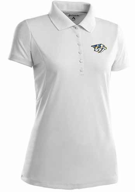 Nashville Predators Womens Pique Xtra Lite Polo Shirt (Color: White)