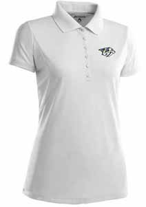 Nashville Predators Womens Pique Xtra Lite Polo Shirt (Color: White) - Large