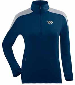 Nashville Predators Womens Succeed 1/4 Zip Performance Pullover (Team Color: Navy) - Small