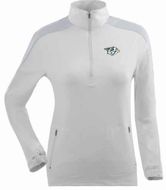Nashville Predators Womens Succeed 1/4 Zip Performance Pullover (Color: White)