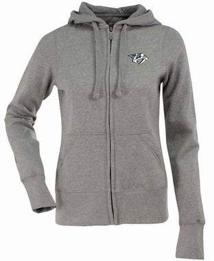 Nashville Predators Womens Zip Front Hoody Sweatshirt (Color: Gray)