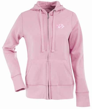 Nashville Predators Womens Zip Front Hoody Sweatshirt (Color: Pink)